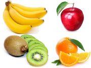 English powerpoint: fruits, apple, banana, kiwi, orange