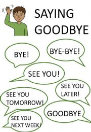 English powerpoint: Greetings, goodbies and introductions mini poster