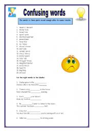English Worksheets: Confusing words