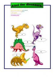English Worksheets: Dinosaurs2