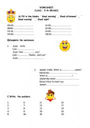 English Worksheets: greeting -numbers1-20 - prounouns ( Revision ) / 02/08/2008