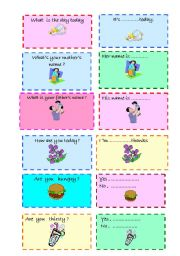 English Worksheets: Questions -answers cards -2  ( 02/08/2008)