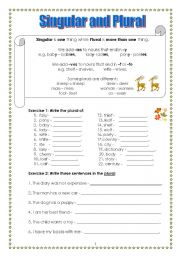 English Worksheets: Singular and Plural (Part 2)