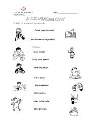 English Worksheets: a common day / actions