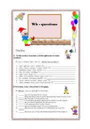 English Worksheets: Wh-questions (02.08.08)