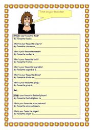 English worksheet: Favourites