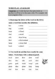 anagrams worksheet by christina rimac. Black Bedroom Furniture Sets. Home Design Ideas