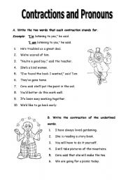 English Worksheet: Contractions and Pronouns