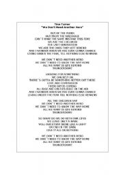 English Worksheets: Song activity - we don�t need another hero - Tina Turner