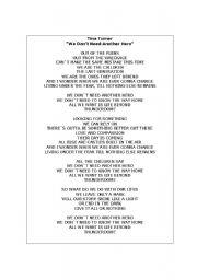 English Worksheet: Song activity - we don�t need another hero - Tina Turner