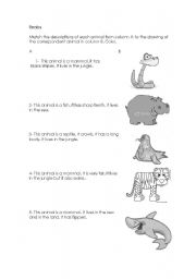 English Worksheets: Descriptions of animals