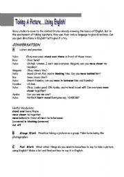 English Worksheets: Taking Pictures - using English