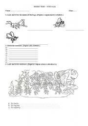 English Worksheet: Short tes-bugs