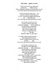 English Worksheet: Phil Collins - Against All Odds