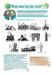 English Worksheets: where were they last month? 03-08-08