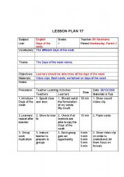 Days of the week lesson plan ks1