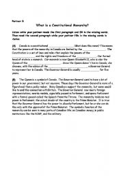 English Worksheet: What is a constitutional monarchy?
