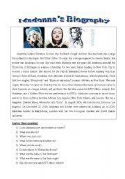 English Worksheet: Madonna�s biography