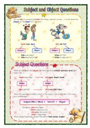 English Worksheet: Subject and object questions guide (05.08.08)