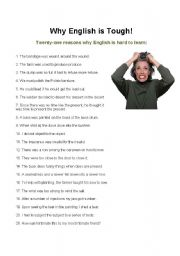 English Worksheets: Why English Is Tough