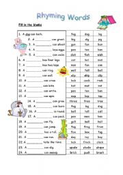 Worksheets Kids Ramying Words english teaching worksheets rhyming words words