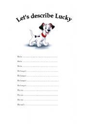 English worksheet: Let´s describe Lucky