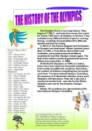 English Worksheet: The History of the Olympics