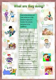 English Worksheets: What are they doing? - (present progressive)