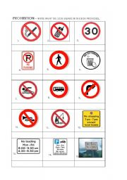 English Worksheet: Prohibition - signs activity (with TL and context provided)