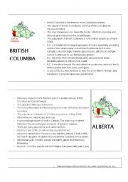 English Worksheets: Canadian Provinces - Facts Handout 1/3