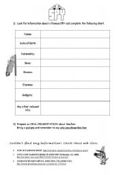 English worksheet: Guide for oral presentation about spies