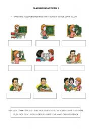 English Worksheets: CLASSROOM ACTIONS 1