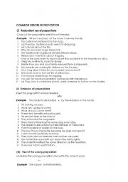English Worksheets: Common Errors in Preposition