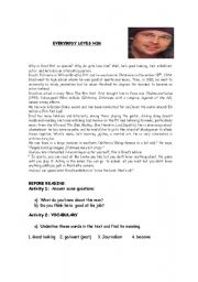 English Worksheets: evebody loves him!