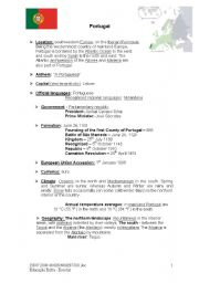 English Worksheet: Brief information about Portugal part1