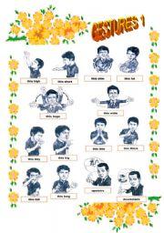 English Worksheet: Gestures pictionary 1