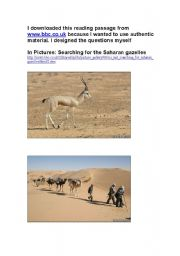 English Worksheets: Searching for the Saharan gazelles