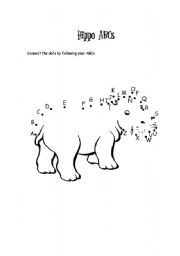 English Worksheets: ABC WITH HIPPO