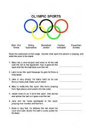 olympic sports esl worksheet by debres. Black Bedroom Furniture Sets. Home Design Ideas