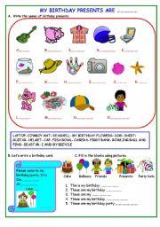 English Worksheet: MY BIRTHDAY  PRESENT ARE .......................