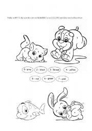 English Worksheets: Coloring Pets