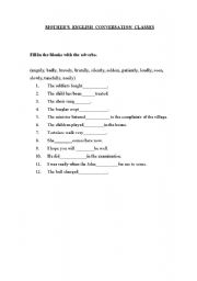 English worksheet: Different types of Adverbs
