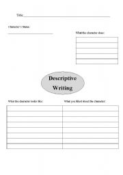 English Worksheets: Descriptive Writing Brainstorm