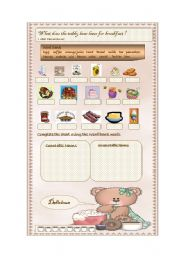 English Worksheet: Teddy Bear�s Breakfast (Countable/ Uncountable Nouns)