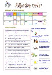 English Worksheet: Adjective Order