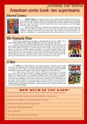 English Worksheets: American comic book