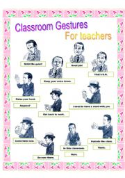 English Worksheets: Gestures pictionary( in classroom)
