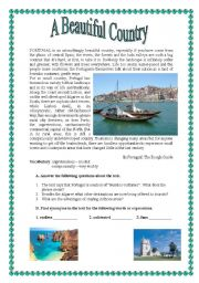 English Worksheet: Portugal - a beautiful country