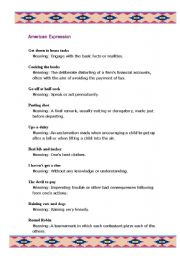 English Worksheets: American Expression - Part I