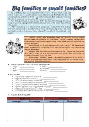 English Worksheet: Big families or small families? - 6/8/08